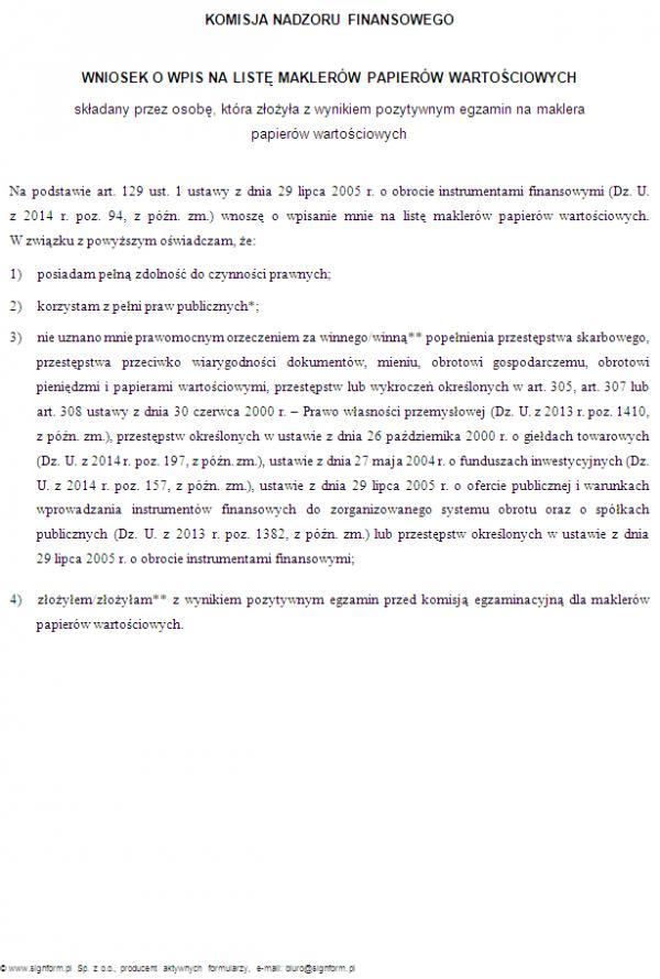 Wniosek o wpis na listę maklerów papierów wartościowych (wersja 1)
