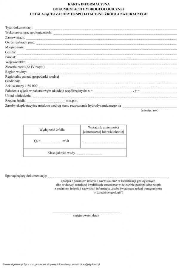 Karta informacyjna dokumentacji hydrogeologicznej ustalającej zasoby eksploatacyjne źródła naturalnego