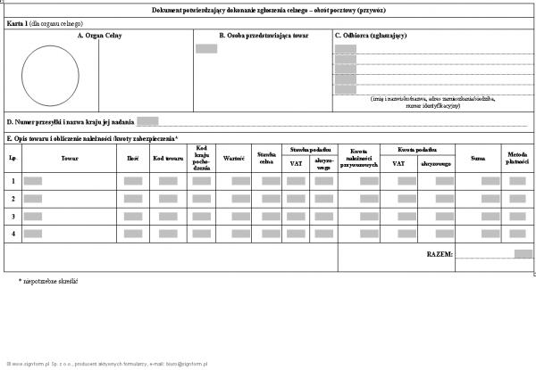 Dokument potwierdzający dokonanie zgłoszenia celnego - obrót pocztowy (przywóz)