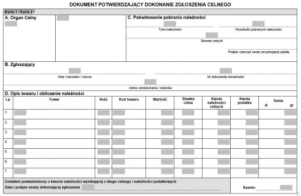 Dokument potwierdzający dokonanie zgłoszenia celnego