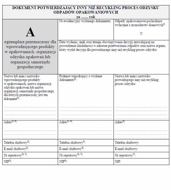 Dokument DPO - Dokument potwierdzający inny niż recykling proces odzysku odpadów opakowaniowych