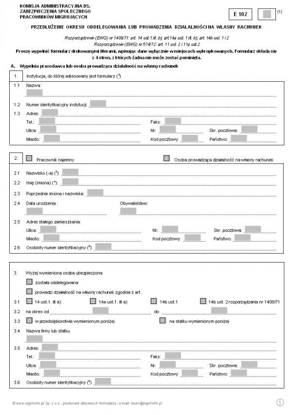 E 102 - Przedłużenie okresu oddelegowania lub prowadzenia działalności na własny rachunek