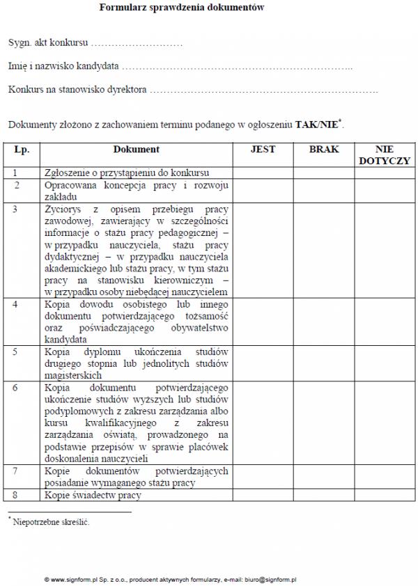 Formularz sprawdzenia dokumentów kandydata na dyrektora zakładu poprawczego, schroniska dla nieletnich