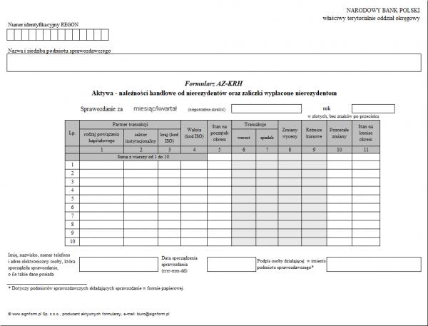 Formularz AZ-KRH