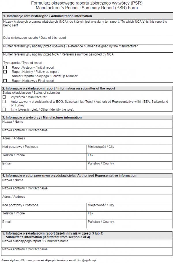 Formularz okresowego raportu zbiorczego wytwórcy (PSR)