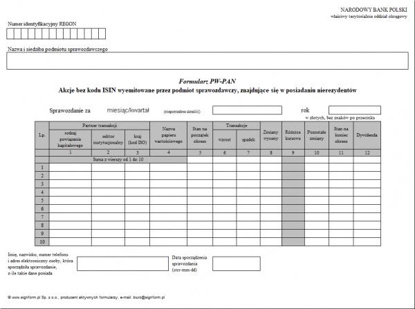 Formularz PW-PAN