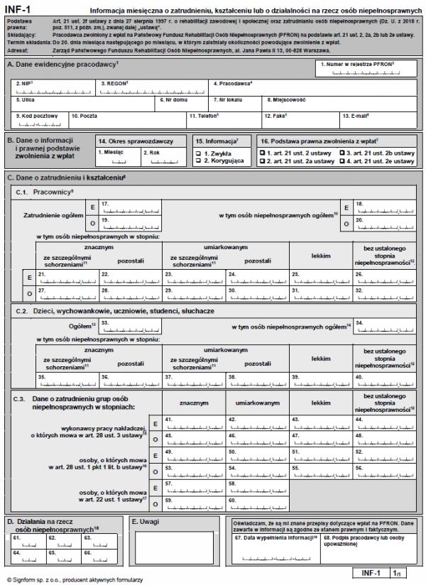 INF-1 Informacja miesięczna o zatrudnieniu, kształceniu lub o działalności na rzecz osób niepełnosprawnych