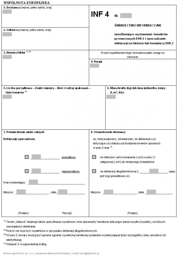 INF 4 - Świadectwo Informacyjne i wniosek o wystawienie świadectwa informacyjnego