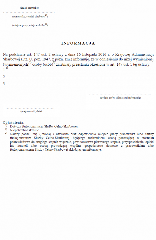 Informacja dotycząca stosunku podległości służbowej funkcjonariuszy celnych, członków korpusu służby cywilnej oraz pracowników odpowiednio pełniących służbę albo zatrudnionych w jednostkach organizacyjnych Służby Celno-Skarbowej