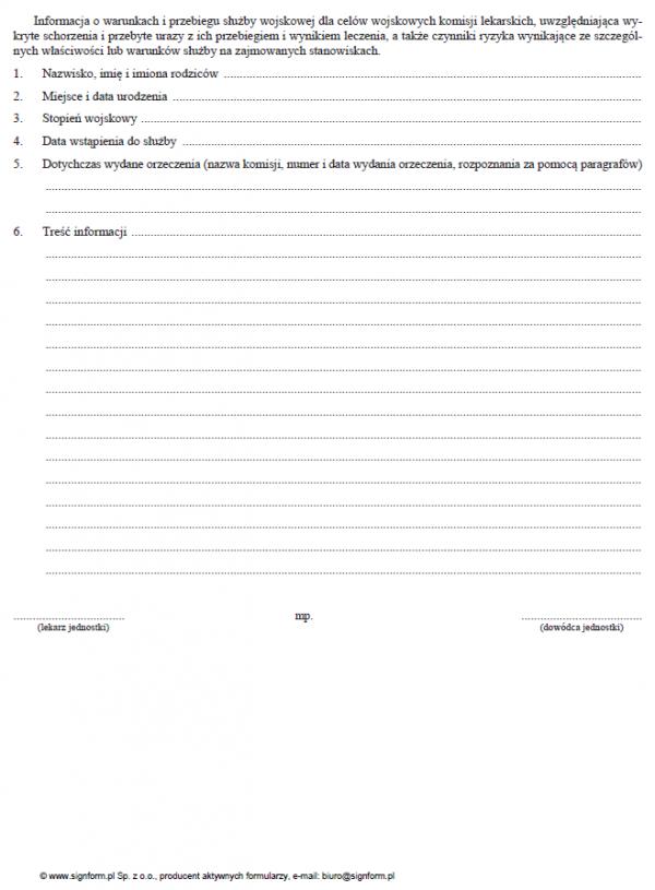 Informacja o warunkach i przebiegu służby wojskowej dla celów wojskowych komisji lekarskich