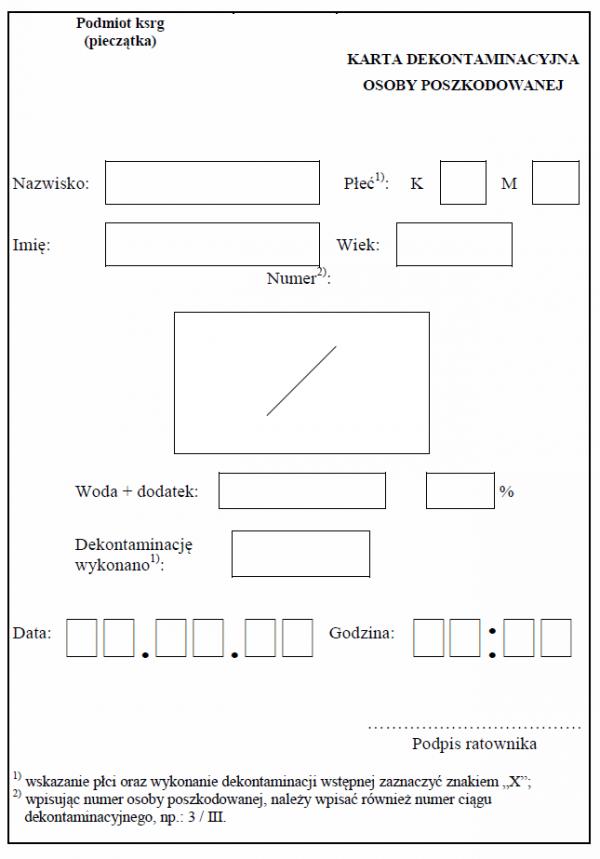 wzór Karta dekontaminacyjna osoby poszkodowanej