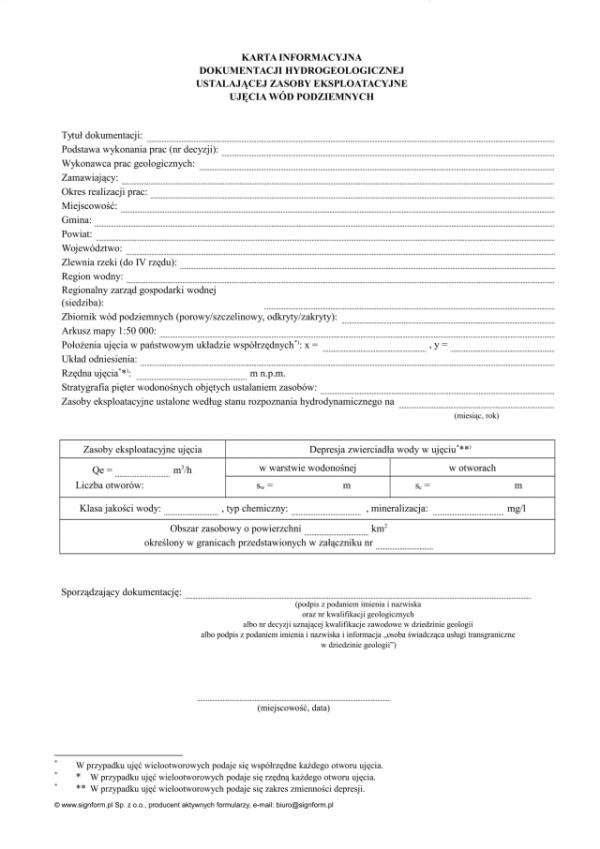 Karta informacyjna dokumentacji hydrogeologicznej ustalającej zasoby eksploatacyjne ujęcia wód podziemnych