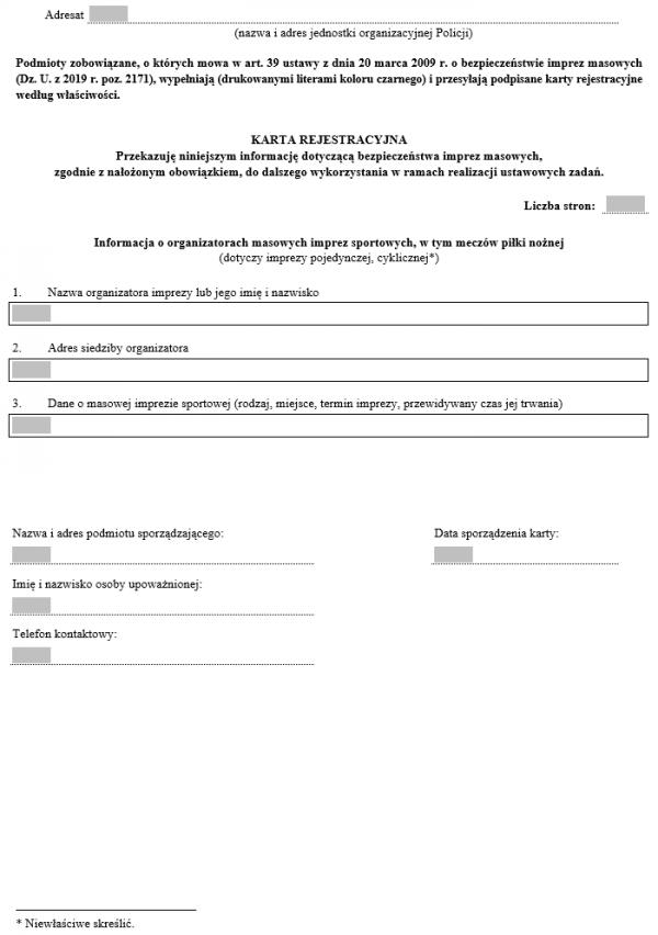 Karta Rejestracyjna informacji o organizatorach masowych imprez sportowych, w tym meczów piłki nożnej