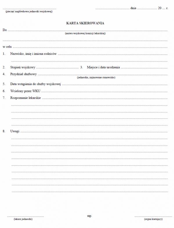 Karta skierowania do wojskowej komisji lekarskiej