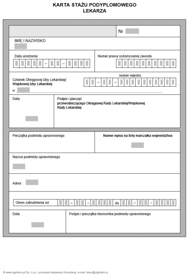 Karta stażu podyplomowego lekarza