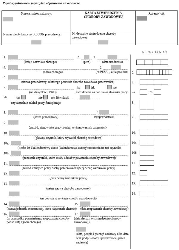Karta stwierdzenia choroby zawodowej