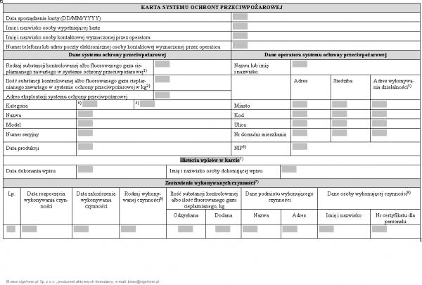 Karta systemu ochrony przeciwpożarowej