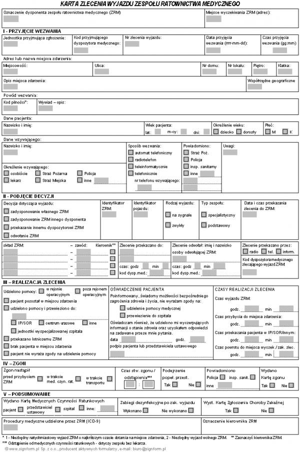 Karta zlecenia wyjazdu zespołu ratownictwa medycznego