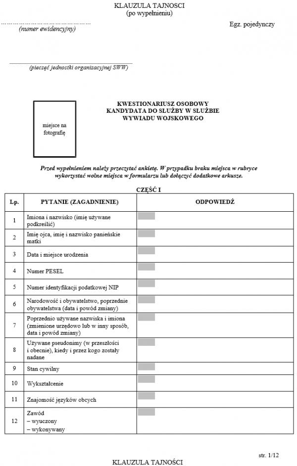 Kwestionariusz osobowy kandydata do służby w Służbie Wywiadu Wojskowego