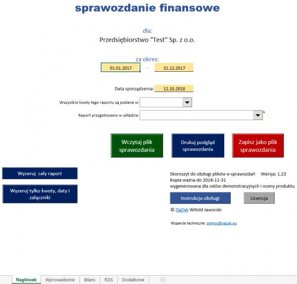 E-Sprawozdanie finansowe MAŁE PRZEDSIĘBIORSTWO