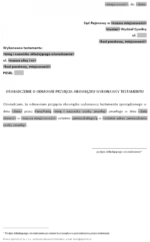 Oświadczenie o odmowie przyjęcia obowiązku wykonawcy testamentu