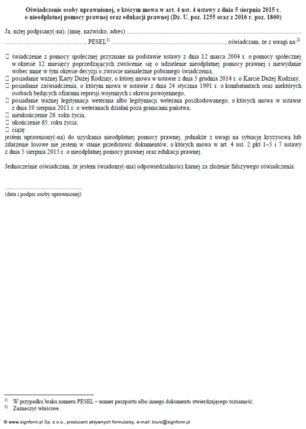 Oświadczenie osoby uprawnionej, o którym mowa w art. 4 ust. 4 ustawy z dnia 5 sierpnia 2015 r. o nieodpłatnej pomocy prawnej oraz edukacji prawnej