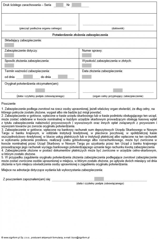 Potwierdzenie złożenia zabezpieczenia w formie depozytu w gotówce
