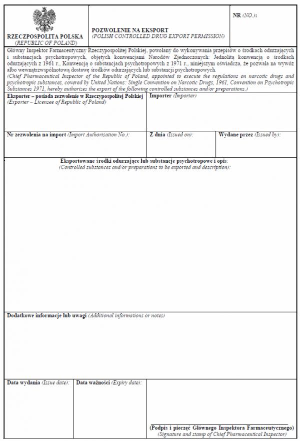 Pozwolenie na eksport środków odurzających lub substancji psychotropowych