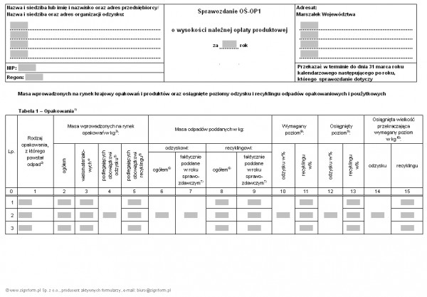 Sprawozdanie OŚ-OP1 o wysokości należnej opłaty produktowej (objaśnienia w formacie PDF)