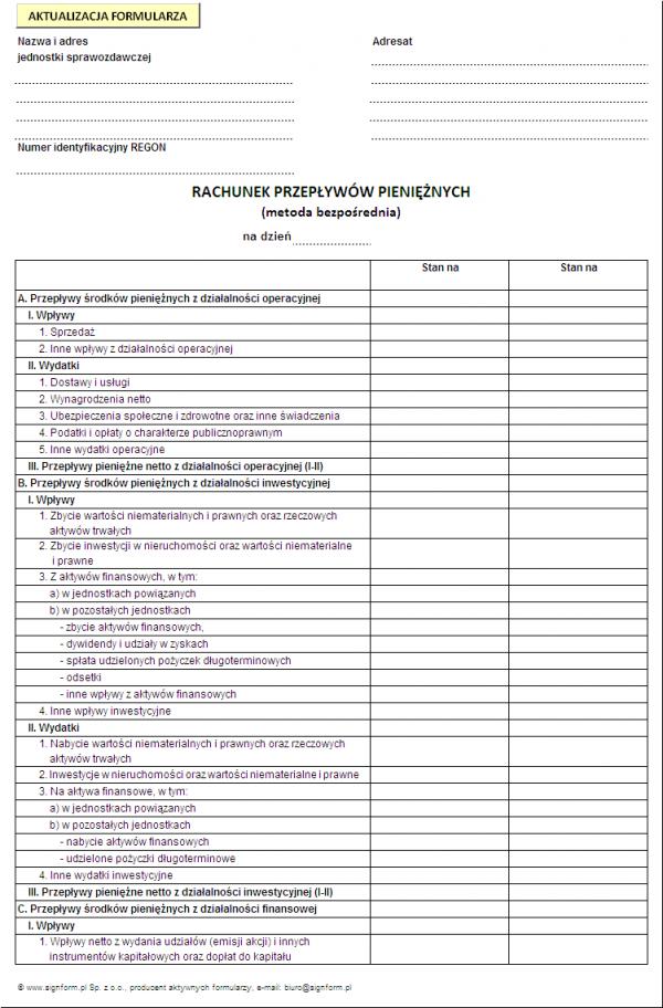 Rachunek przepływów pieniężnych (metoda bezpośrednia)