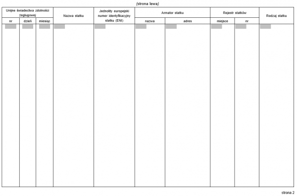 Rejestr unijnych świadectw zdolności żeglugowej