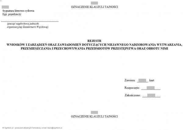 Rejestr wniosków i zarządzeń oraz zawiadomień dotyczących niejawnego nadzorowania wytwarzania, przemieszczania i przechowywania przedmiotów przestępstwa oraz obrotu nimi
