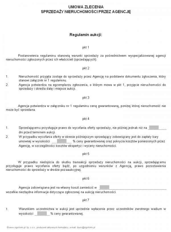 Umowa zlecenia sprzedaży nieruchomości przez agencję
