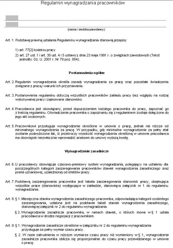 Przykładowy wzór Regulamin Wynagradzania