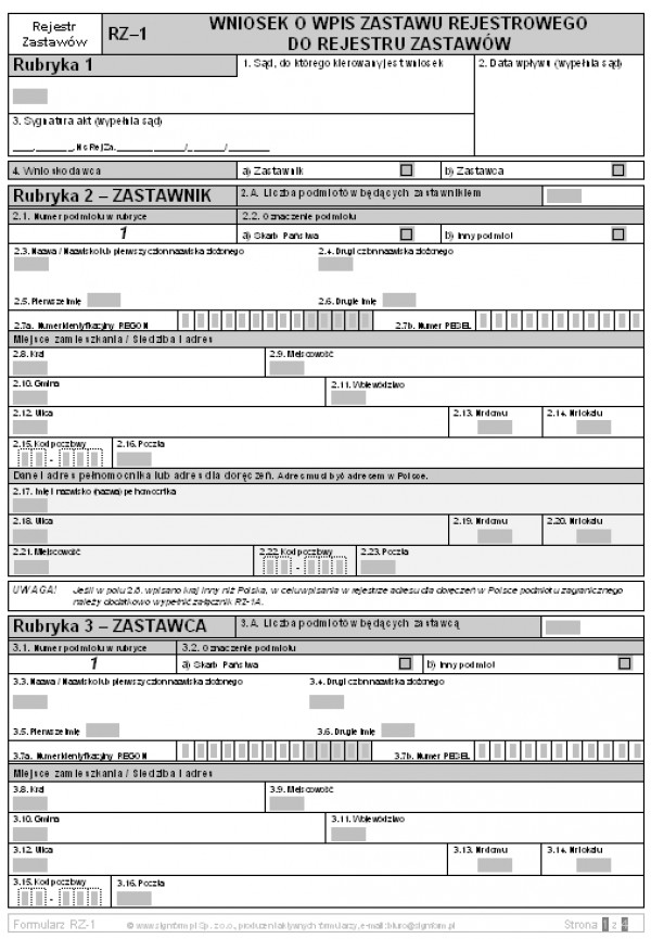 RZ-1 Wniosek o wpis zastawu rejestrowego do rejestru zastawów