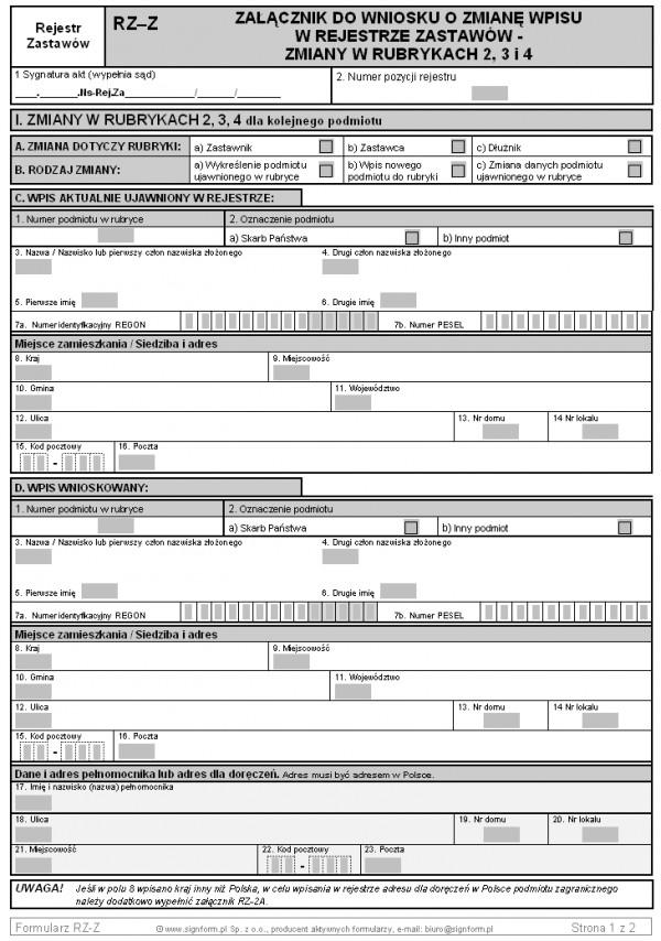 RZ-Z Załącznik do wniosku o zmianę wpisu w rejestrze zastawów - zmiany w rubrykach 2,3 i 4