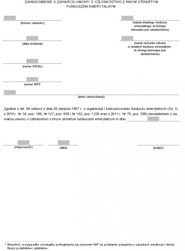 Zawiadomienie o zawarciu umowy o członkostwo z innym Otwartym Funduszem Emerytalnym