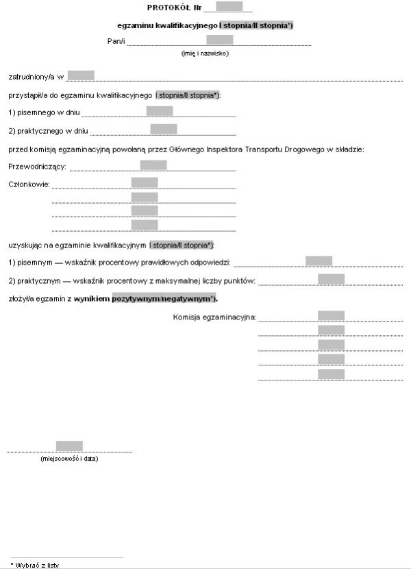 Protokół egzaminu kwalifikacyjnego I stopnia / II stopnia na Inspektora Transportu Drogowego