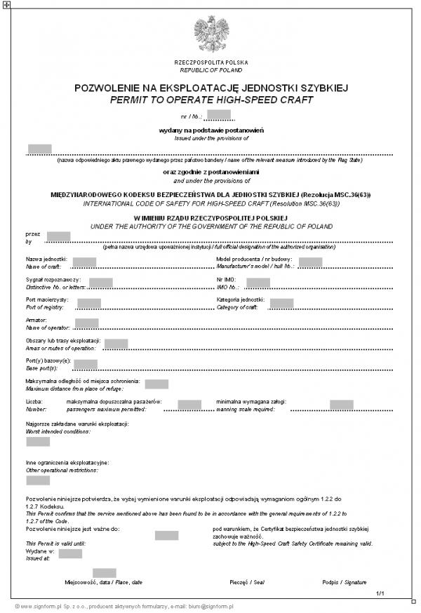 Pozwolenie na eksploatację jednostki szybkiej - wersja 1 (Permit to operate high-speed craft)