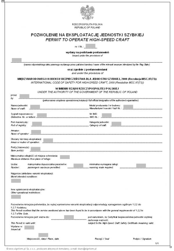 Pozwolenie na eksploatację jednostki szybkiej - wersja 2 (Permit to operate high-speed craft)