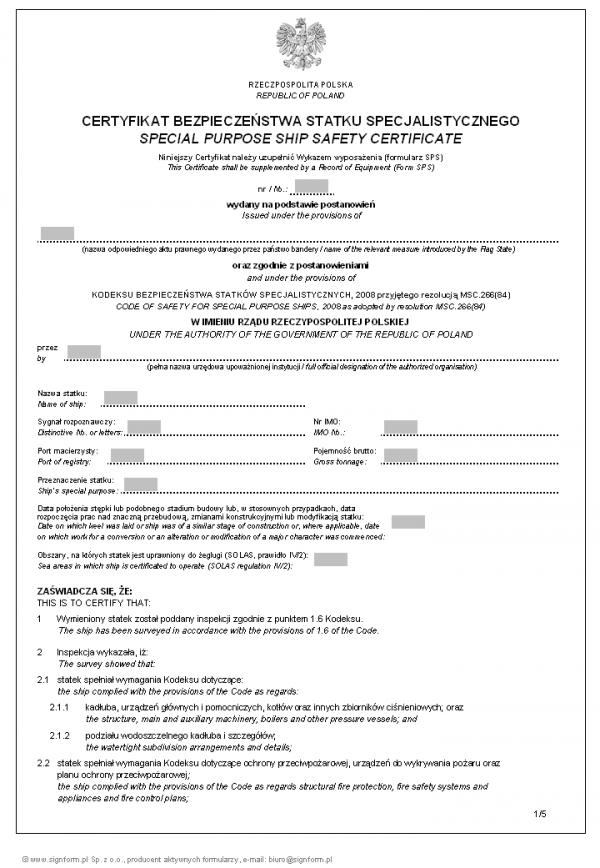Certyfikat bezpieczeństwa statku specjalistycznego - wersja 2 (Special purpose ship safety certificate)