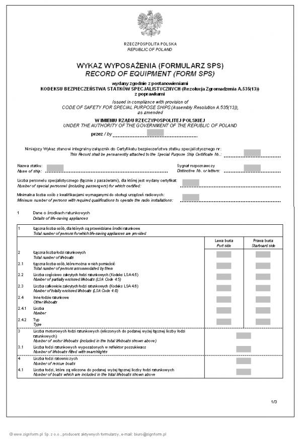 Wykaz wyposażenia (Formularz SPS) - wersja 1 Record of equipment (Form SPS)