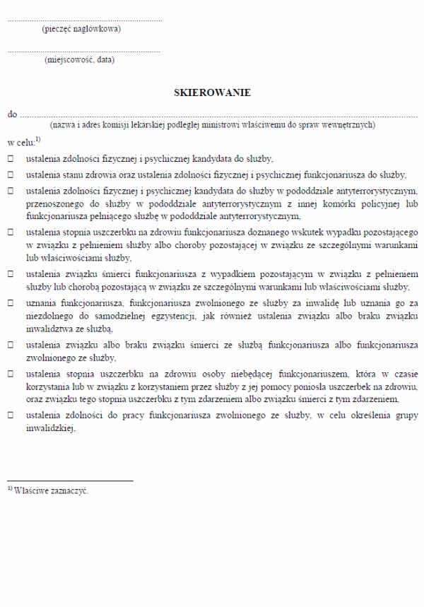 Skierowanie do komisji lekarskiej kandydata do służby podległej ministrowi właściwemu do spraw wewnętrznych