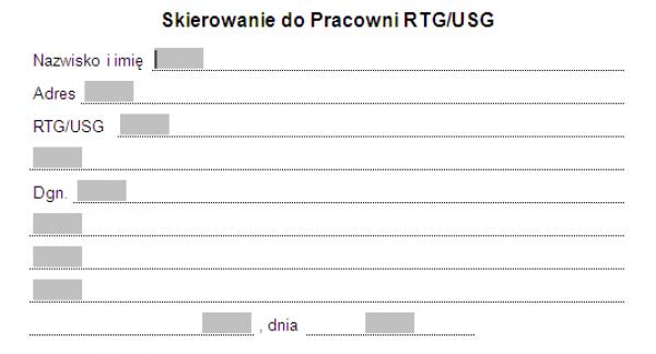 Skierowanie do pracowni RTG/USG