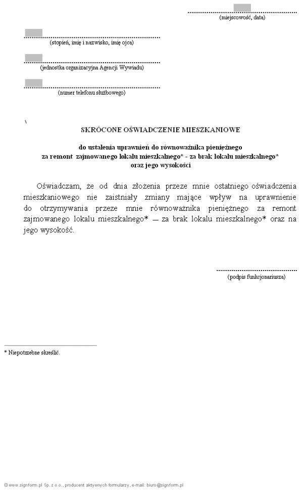 Skrócone oświadczenie mieszkaniowe funkcjonariusza Agencji Wywiadu do ustalenia uprawnień do równoważnika pieniężnego za remont zajmowanego lokalu mieszkalnego (za brak lokalu mieszkalnego) oraz jego wysokości