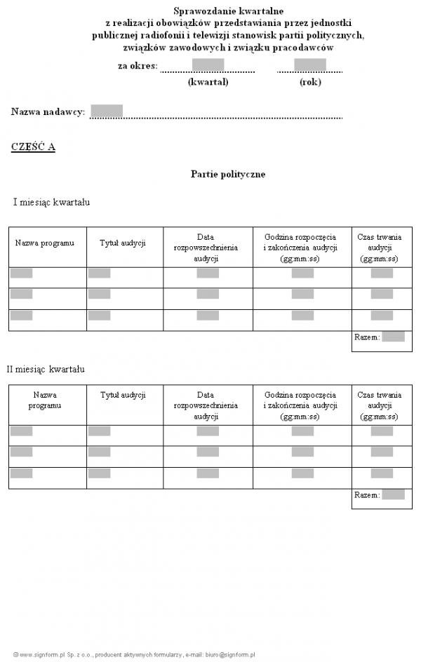 Sprawozdanie kwartalne z realizacji obowiązków przedstawiania przez jednostki publicznej radiofonii i telewizji stanowisk partii politycznych, związków zawodowych i związku pracodawców