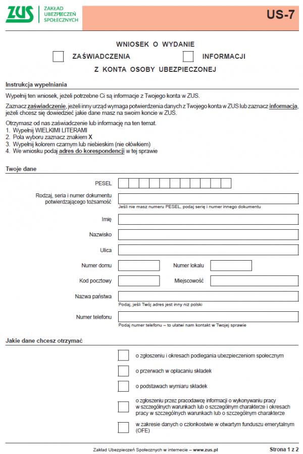 US-7 Wniosek o wydanie zaświadczenia / informacji z konta osoby ubezpieczonej
