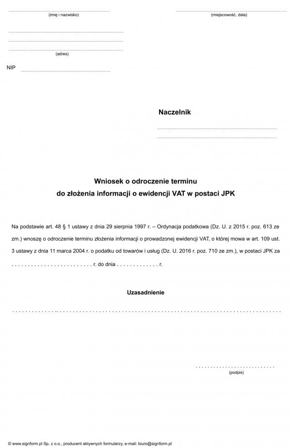 Wniosek o odroczenie terminu do złożenia informacji o ewidencji VAT w postaci JPK