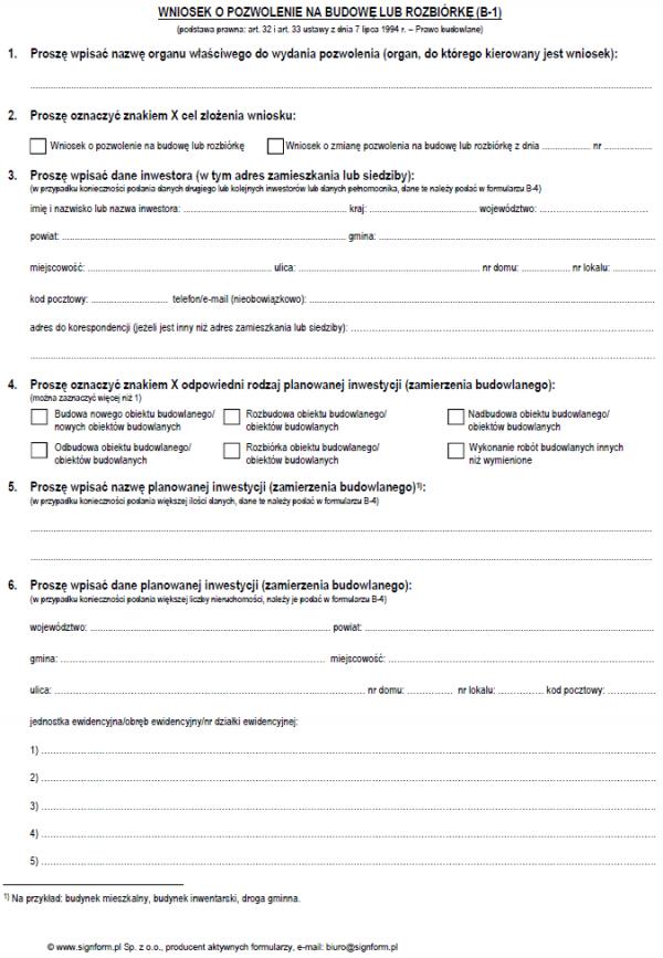 Wniosek o pozwolenie na budowę lub rozbiórkę (B-1)