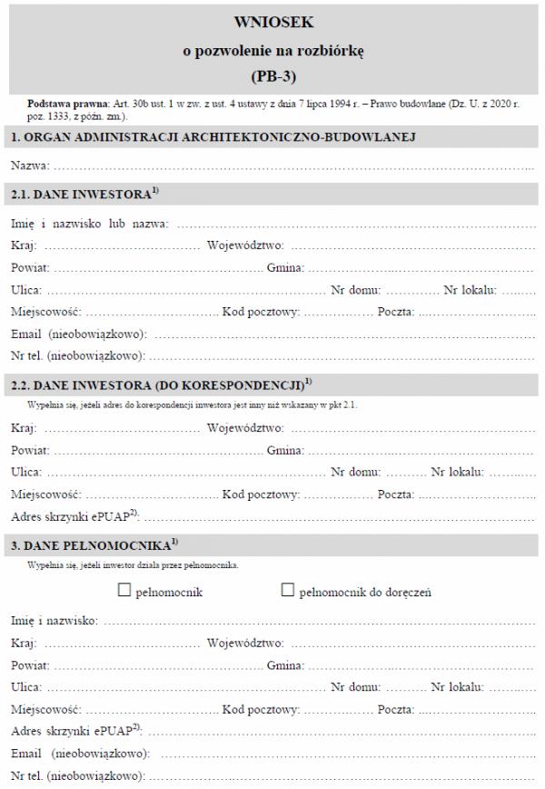 Wniosek o pozwolenie na rozbiórkę (PB-3)